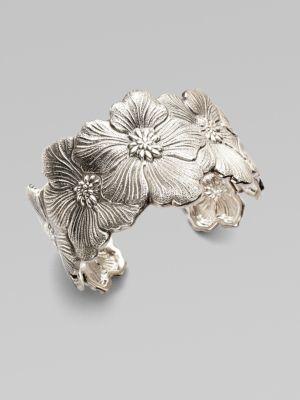 Buccellati Blossom Sterling Silver Flower Cuff Bracelet