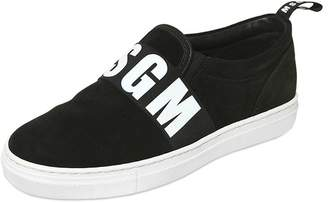 MSGM Logo Printed Band Suede Slip-On Sneakers