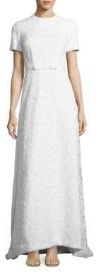 Self-Portrait White Rose Lace Open-Back Gown