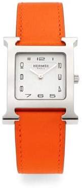 Hermes Heure H Stainless Steel& Leather Strap Watch/Orange