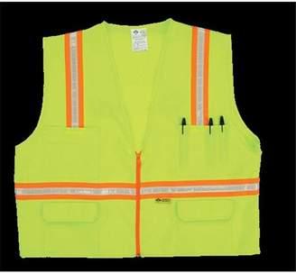 2W 8048-A 5XL Multi-Pocket Surveyor Vest - Lime, 5 Extra Large