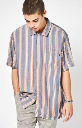 Obey York Striped Short Sleeve Button Up Camp Shirt
