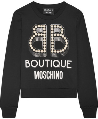 Boutique Moschino - Embellished Printed Cotton-jersey Sweatshirt - Black $550 thestylecure.com