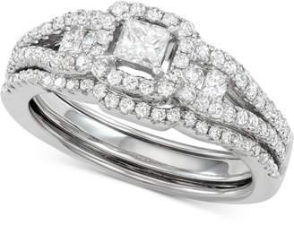 Macy's Princess Cut Diamond Ring & Enhancer Set (1 ct. t.w.) in 14k White Gold