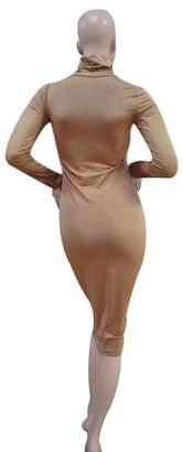 tryandtry Khaki Sexy Women Clubwear High Collar Long Sleeve Slim Evening Party Dress