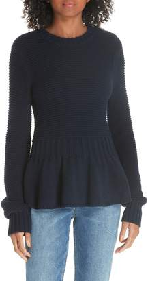 Rebecca Taylor Mix Stitch Cotton Wool Peplum Sweater