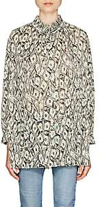 Balenciaga Women's Money-Print Plissé Tunic-Green