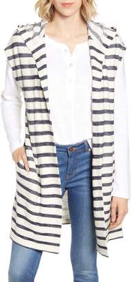 Lou & Grey Stripe Terry Hooded Cardigan