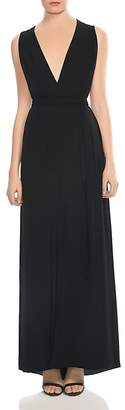 Halston Drape-Detail V-Neck Gown