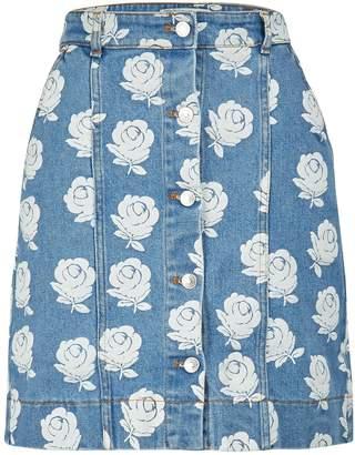 Kenzo Floral print denim skirt