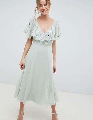 Asos Design DESIGN embellished wrap midi dress with flutter sleeve