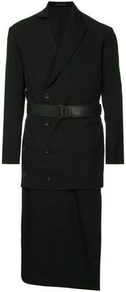 Yohji Yamamoto layered double-breasted coat