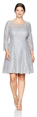 S.L. Fashions Women's Plus Size Lace and Sequin Fit and Flare Dress