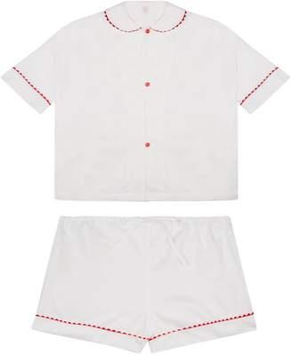 RAC Sarah Brown 100% Cotton Poplin Pyjamas In White With Red Contrasting Ric Trim