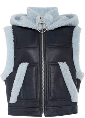 Cédric Charlier Cropped Faux Shearling-Trimmed Faux-Leather Moto Jacket