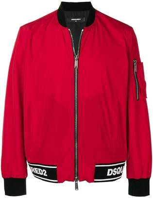 DSQUARED2 logo band bomber jacket