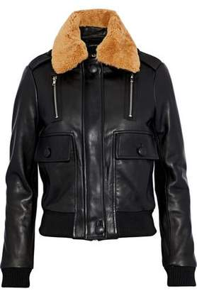Maje Bengal Shearling-Trimmed Leather Bomber Jacket