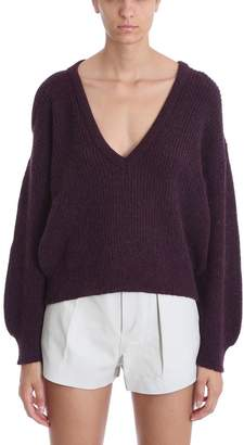 IRO Oddity Burgundy Ribbed Wool Blend Open Knit Jumper