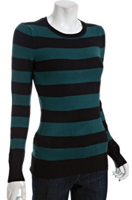 French Connection teal and black striped stretch puff shoulder crewneck sweater