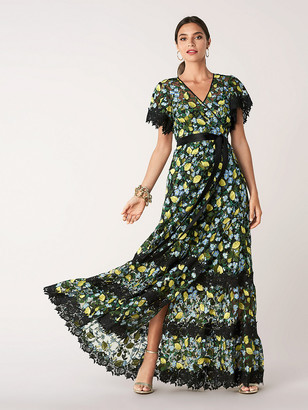 Diane von Furstenberg Victorious Embroidered Tulle Wrap Gown