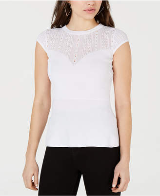 GUESS Julie Eyelet-Yoke Top