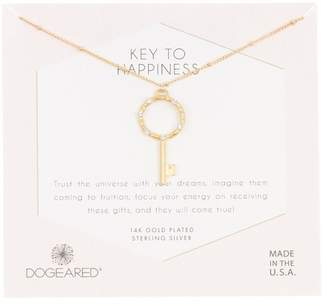 Dogeared Key to Happiness Crystal Halo Pendant Necklace