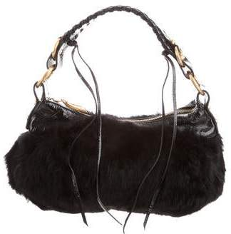 Francesco Biasia Rabbit Fur Shoulder Bag
