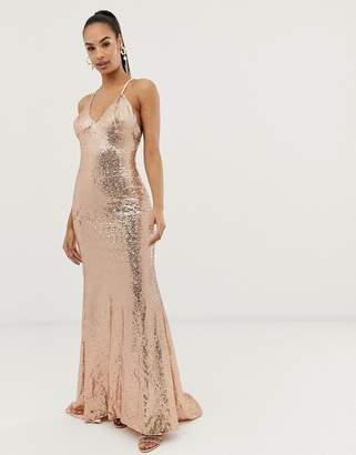 0b1b50767dc Club L London sequin cross back fishtail maxi dress
