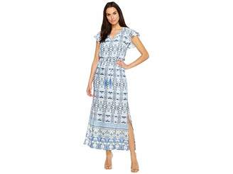 Adrianna Papell Pieced Paisley Printed CDC Blouson Maxi Dress w/ Short Sleeves Women's Dress