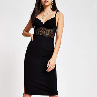 River Island Black lace corset bodycon dress