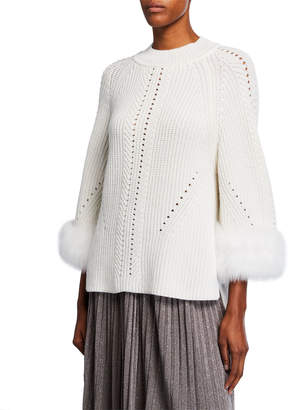 Fendi Cashmere 3/4-Sleeve Sweater with Fur Cuffs