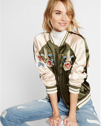 Express embroidered satin bird reversible bomber jacket $148 thestylecure.com