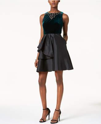 Adrianna Papell Embellished Velvet & Taffeta Dress