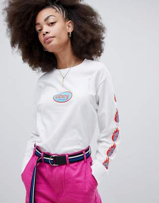 Obey Relaxed Long Sleeve T-Shirt With 90'S Front Logo And Arm Print