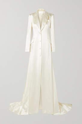 Danielle Frankel - Jean Silk And Wool-blend Satin Coat - Cream