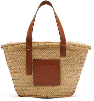 Loewe Medium Woven Basket Bag - Womens - Tan Multi