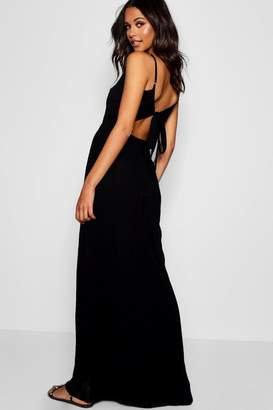 boohoo Tall Cut Out Detail Tie Back Maxi Dress