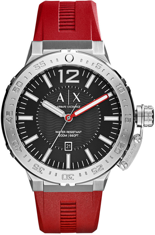 Armani Exchange  A|X Armani Exchange Men's Red Silicone Strap Watch 48mm AX1811