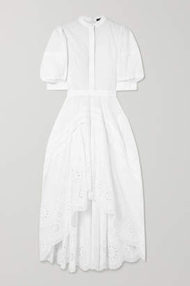 Alexander McQueen Asymmetric Pleated Broderie Anglaise Poplin Dress - White
