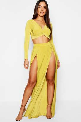 boohoo Slinky Knot Front Off Shoulder Top + Maxi Skirt Co-Ord