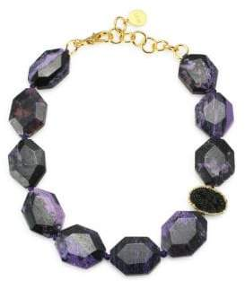 Nest Charoite& 24K Goldplated Statement Necklace