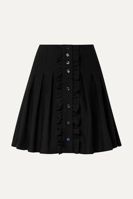 A.P.C. Victoria Ruffled Pleated Crepe Mini Skirt - Black