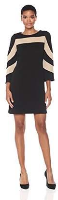 Gabby Skye Women's Bell Sleeve Round Neck Knit a-Line Dress