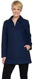 Susan Graver Zip Front Bonded Lace Trench Coat