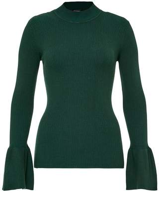 Hallhuber Rib Knit Jumper With Ruffle Sleeves