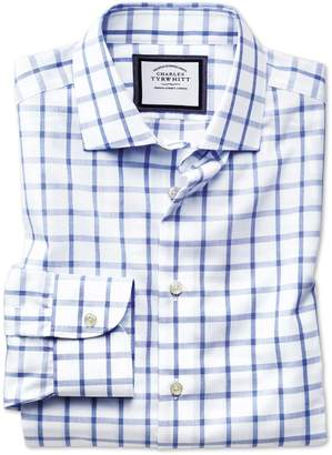 Charles Tyrwhitt Slim Fit Semi-Spread Collar Non-Iron Business Casual Blue and White Check Cotton Dress Shirt Single Cuff Size 15.5/33