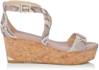 Jimmy Choo PORTIA 70 Ballet Pink Nubuck Snake Printed Leather Cork Wedge Sandals