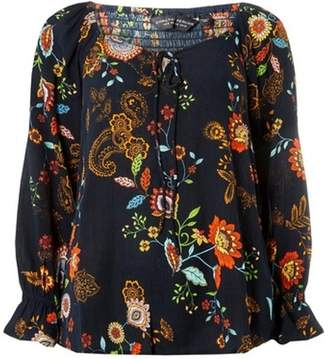 Dorothy Perkins Womens Navy Floral Print Sweetheart Top