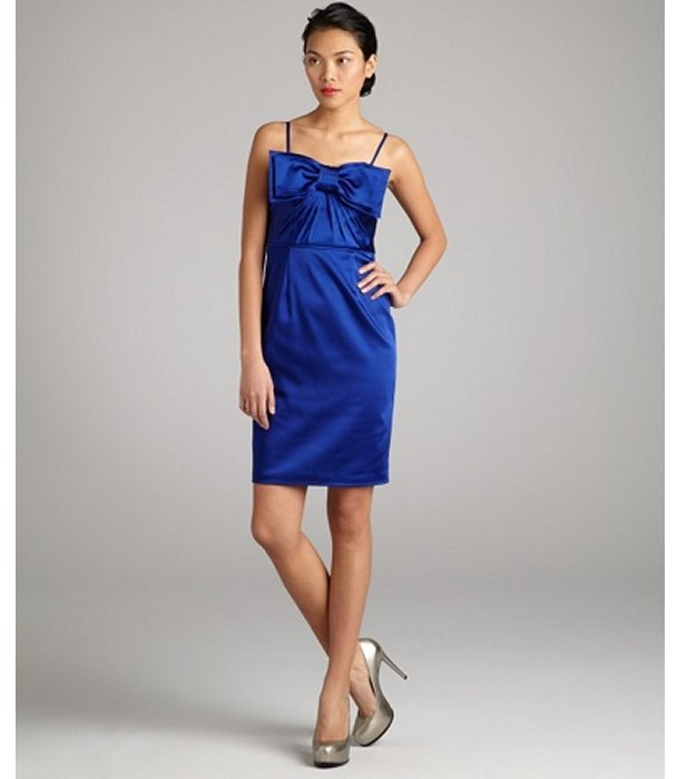Jill Stuart JILL cobalt stretch sateen bow embellished sweetheart dress
