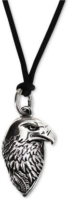 "King Baby Studio Men's Eagle Black Cord 24"" Pendant Necklace in Sterling Silver"